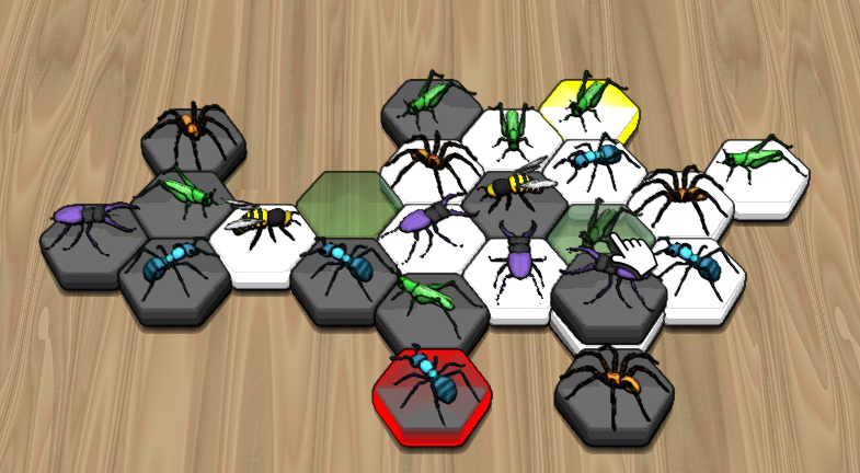 The white grasshopper with the yellow marking is going to win the game by being able to catch the queen bee. The green-transparent tile illustrates this winning move.